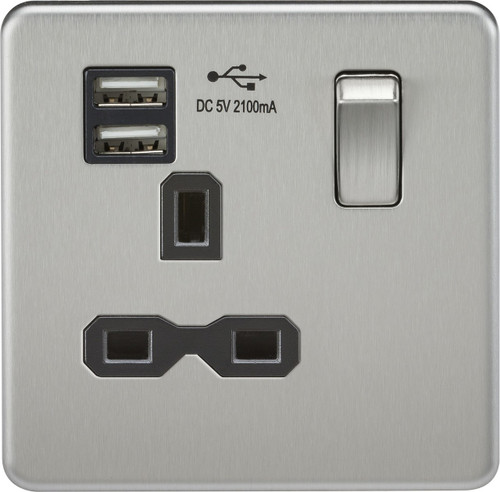Screwless 13A 1G Switched Socket with Dual USB Charger - Brushed Chrome with Black Insert (DFL1SFR9901BC)