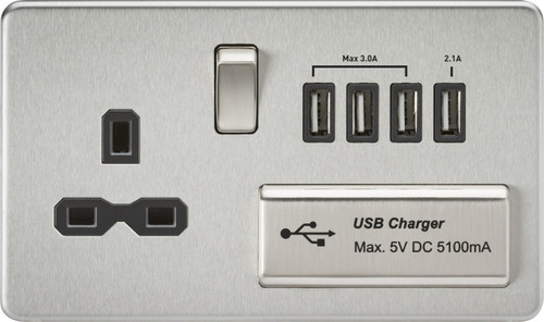 Screwless 13A 1G Switched Socket with Quad USB Charger 5V DC 5.1A - Brushed Chrome with Black Insert (DFL1SFR7USB4BC)