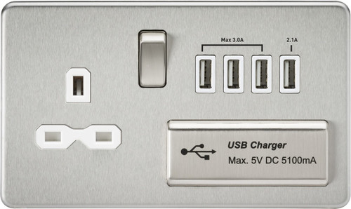 Screwless 13A 1G Switched Socket with Quad USB Charger 5V DC 5.1A - Brushed Chrome with White Insert (DFL1SFR7USB4BCW)