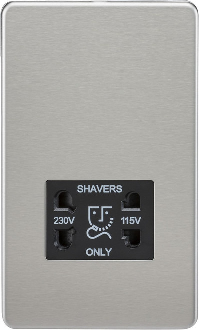 Screwless 115V/230V Dual Voltage Shaver Socket - Brushed Chrome with Black Insert (DFL1SF8900BC)