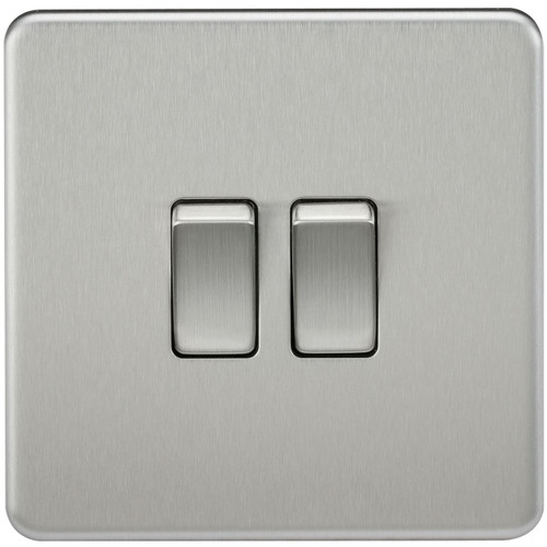 Screwless 10A 2G 2-Way Switch - Brushed Chrome (DFL1SF3000BC)