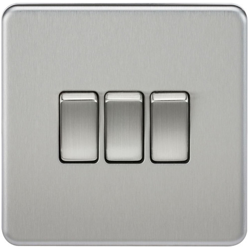 Screwless 10A 3G 2-Way Switch - Brushed Chrome (DFL1SF4000BC)