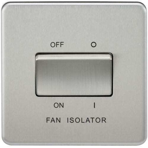 Screwless 10A 3 Pole Fan Isolator Switch - Brushed Chrome (DFL1SF1100BC)