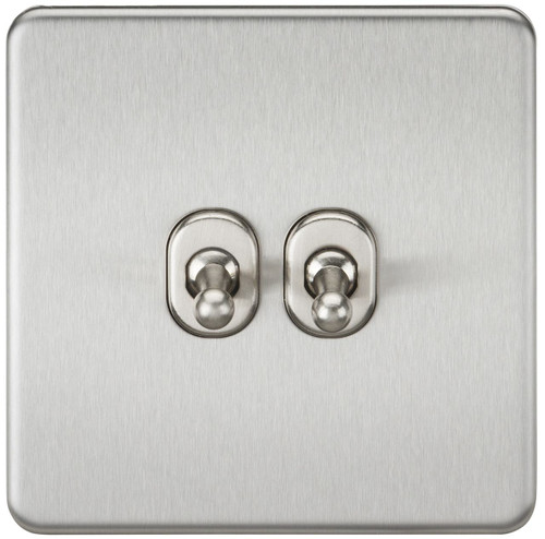 Screwless 10A 2G 2-Way Toggle Switch - Brushed Chrome (DFL1SF2TOGBC)