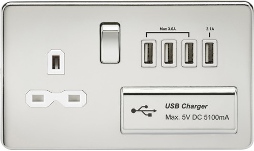 Screwless 13A 1G Switched Socket with Quad USB Charger 5V DC 5.1A - Polished Chrome with White Insert (DFL1SFR7USB4PCW)