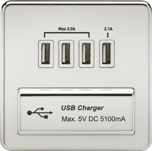 Screwless 1G Quad USB Charger Outlet 5V DC 5.1A - Polished Chrome with White Insert (DFL1SFQUADPCW)