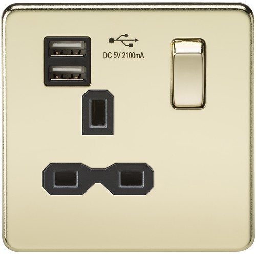 Screwless 13A 1G Switched Socket with Dual USB Charger - Polished Brass with Black Insert (DFL1SFR9901PB)