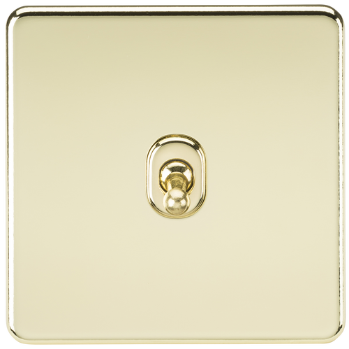Screwless 10A 1G 2-Way Toggle Switch - Polished Brass (DFL1SF1TOGPB)