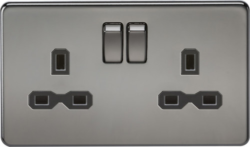 Screwless 13A 2G DP Switched Socket - Black Nickel with Black Insert (DFL1SFR9000BN)
