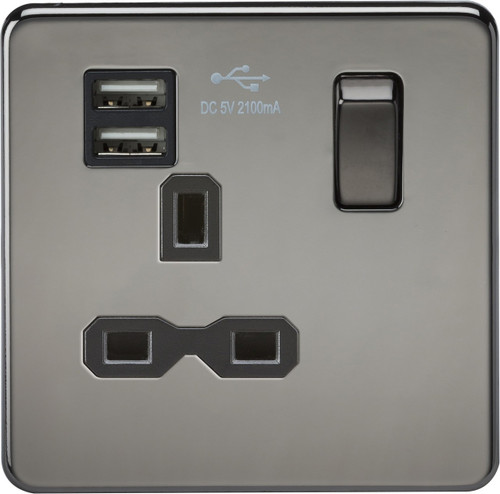 Screwless 13A 1G Switched Socket with Dual USB Charger - Black Nickel with Black Insert (DFL1SFR9901BN)