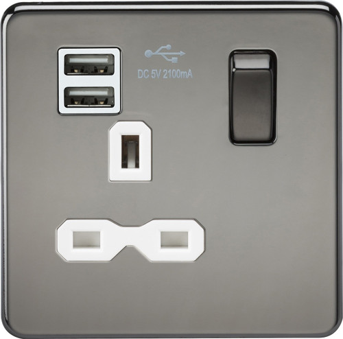 Screwless 13A 1G Switched Socket with Dual USB Charger - Black Nickel with White Insert (DFL1SFR9901BNW)