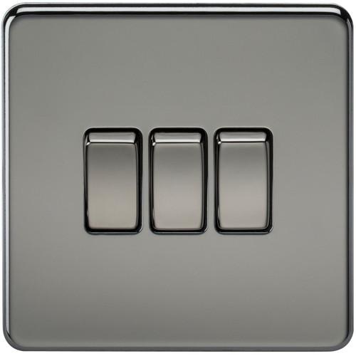 Screwless 10A 3G 2-Way Switch - Black Nickel (DFL1SF4000BN)