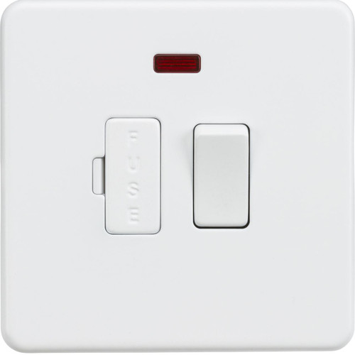 Screwless 13A Switched Fused Spur Unit with Neon - Matt White (DFL1SF6300NMW)