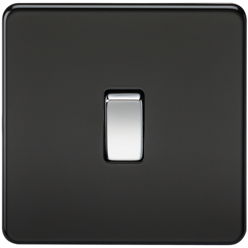 Screwless 20A 1G DP Switch - Matt Black with Chrome Rocker (DFL1SF8341MB)