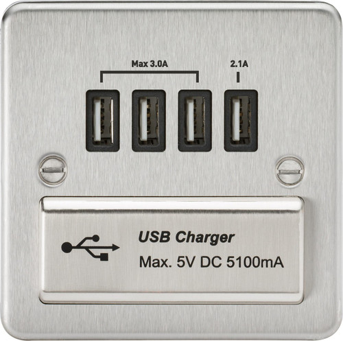 Flat Plate 1G Quad USB Charger Outlet 5V DC 5.1A - Brushed Chrome with Black Insert (DFL1FPQUADBC)