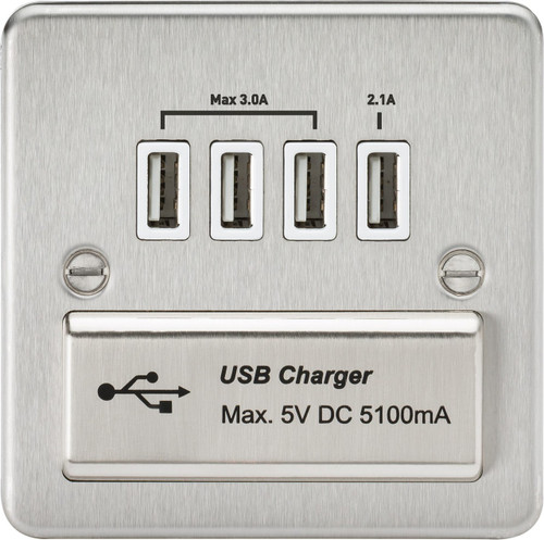 Flat Plate 1G Quad USB Charger Outlet 5V DC 5.1A - Brushed Chrome with White Insert (DFL1FPQUADBCW)