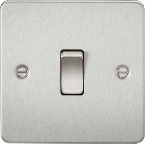 Flat Plate 10A 1G 2-Way Switch - Brushed Chrome (DFL1FP2000BC)