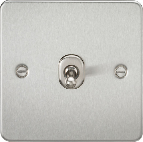 Flat Plate 10A 1G 2-Way Toggle Switch - Brushed Chrome (DFL1FP1TOGBC)
