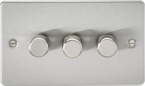 Flat Plate 3G 2-Way 40-400W Dimmer Switch - Brushed Chrome (DFL1FP2173BC)