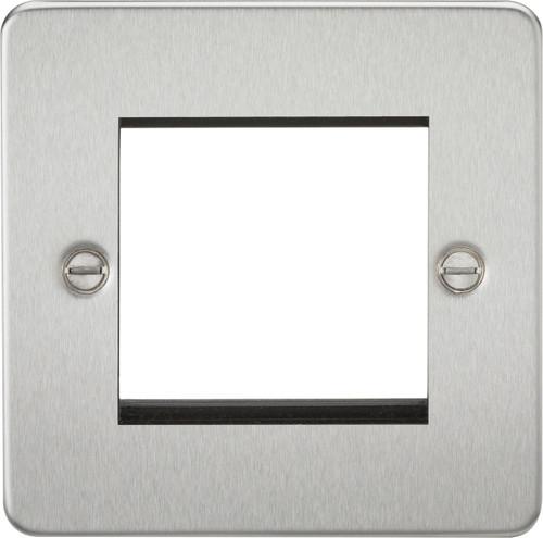 Flat Plate 2G modular faceplate - Brushed Chrome (DFL1FP2GBC)