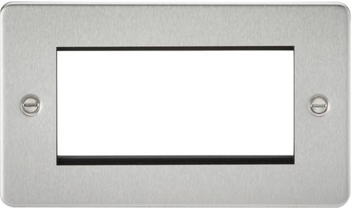 Flat Plate 4G Modular Faceplate - Brushed Chrome (DFL1FP4GBC)