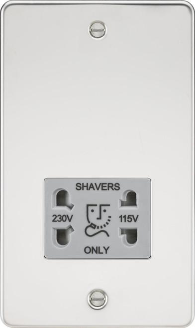 Flat Plate 115V/230V Dual Voltage Shaver Socket - Polished Chrome with Grey Insert (DFL1FP8900PCG)