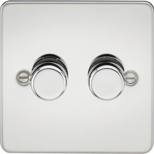 Flat Plate 2G 2-Way 40-400W Dimmer Switch - Polished Chrome (DFL1FP2172PC)