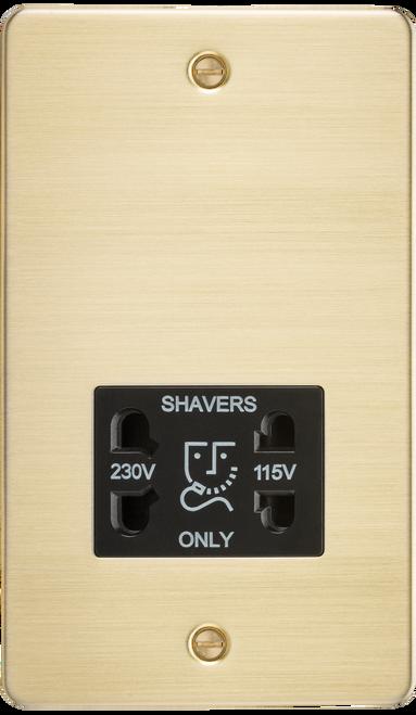 Flat Plate 115V/230V Dual Voltage Shaver Socket - Brushed Brass with Black Insert (DFL1FP8900BB)