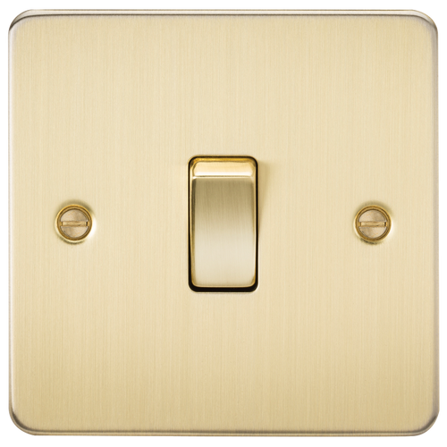 Flat Plate 10A 1G 2-Way Switch - Brushed Brass (DFL1FP2000BB)