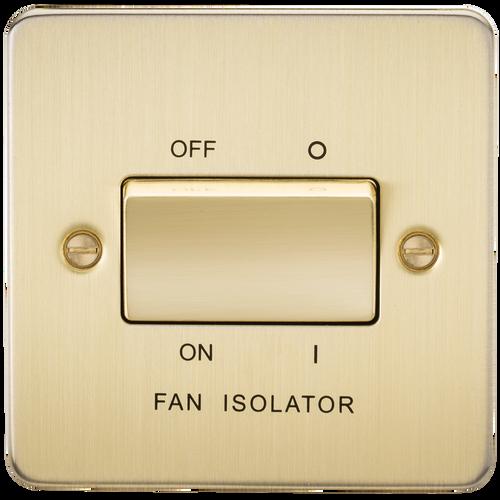 Flat Plate 10A 3 Pole Fan Isolator Switch - Brushed Brass (DFL1FP1100BB)