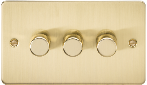 Flat Plate 3G 2-Way 40-400W Dimmer Switch - Brushed Brass (DFL1FP2173BB)