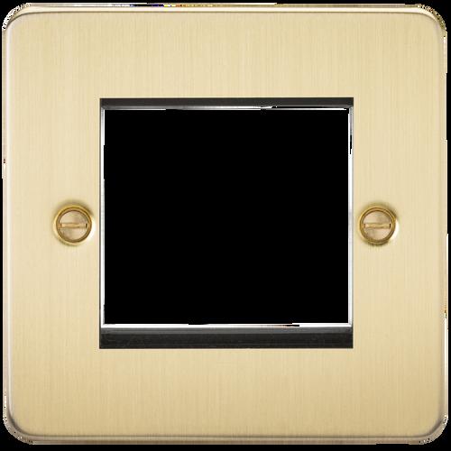Flat Plate 2G modular faceplate - Brushed Brass (DFL1FP2GBB)