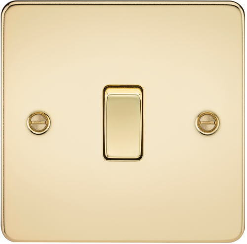 Flat Plate 10A 1G 2-Way Switch - Polished Brass (DFL1FP2000PB)