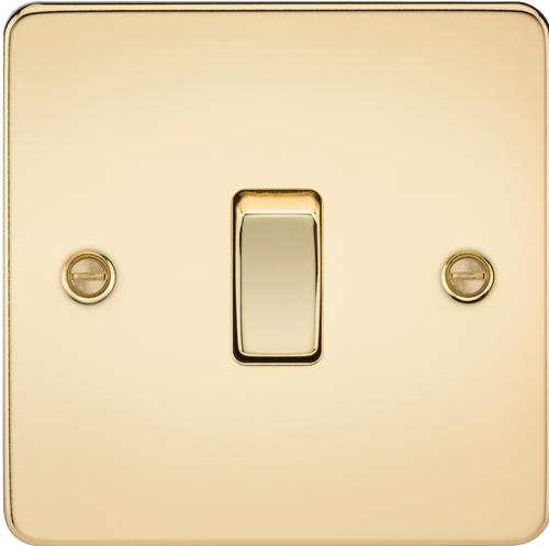 Flat Plate 10A 1G Intermediate Switch - Polished Brass (DFL1FP1200PB)