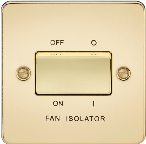 Flat Plate 10A 3 Pole Fan Isolator Switch - Polished Brass (DFL1FP1100PB)
