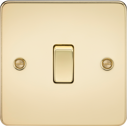 Flat Plate 20A 1G DP Switch - Polished Brass (DFL1FP8341PB)