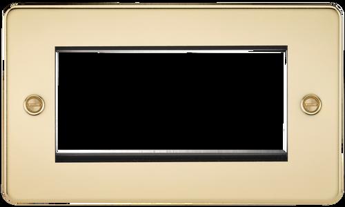 Flat Plate 4G Modular Faceplate - Polished Brass (DFL1FP4GPB)