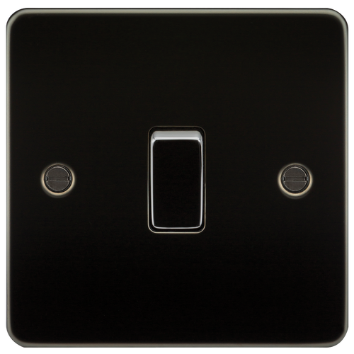 Flat Plate 10A 1G 2-Way Switch - Gunmetal (DFL1FP2000GM)