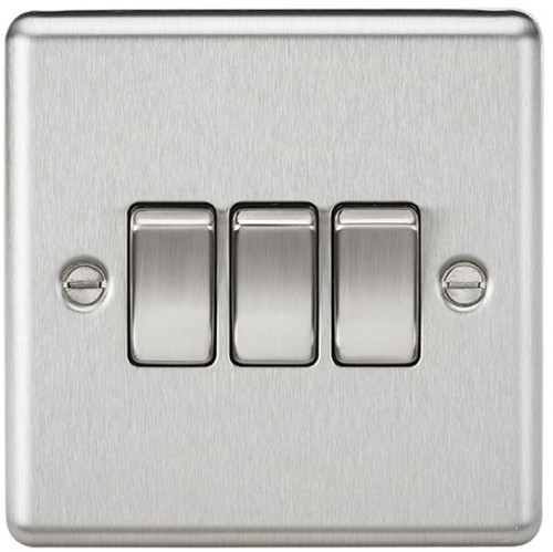 10A 3G 2 Way Plate Switch - Rounded Edge Brushed Chrome (DFL1CL4BC)