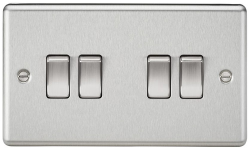 10A 4G 2 Way Plate Switch - Rounded Edge Brushed Chrome (DFL1CL41BC)