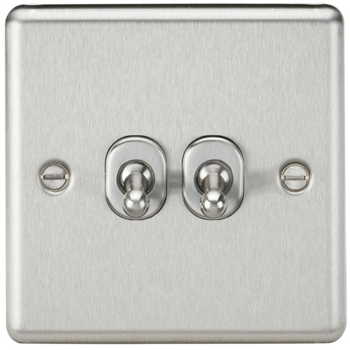 10A 2G 2 Way Toggle Switch - Rounded Brushed Chrome Finish (DFL1CLTOG2BC)