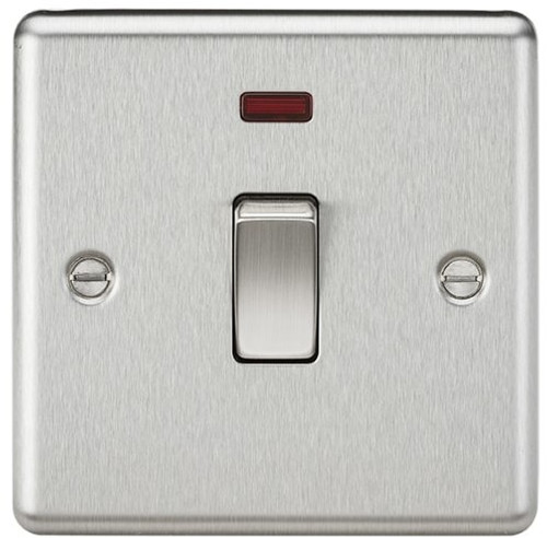 20A 1G DP Switch with Neon - Rounded Edge Brushed Chrome (DFL1CL834NBC)