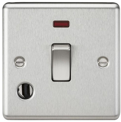20A 1G DP Switch with Neon and Flex Outlet - Rounded Edge Brushed Chrome (DFL1CL834FBC)