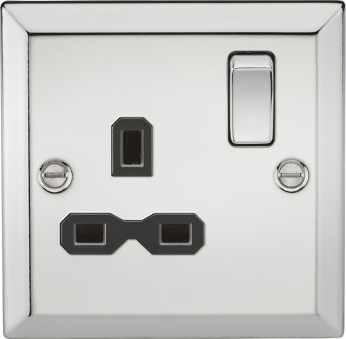 13A 1G DP Switched Socket with Black Insert - Bevelled Edge Polished Chrome (DFL1CV7PC)