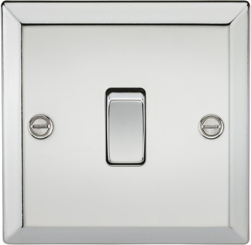 10A 1G 2 Way Plate Switch - Bevelled Edge Polished Chrome (DFL1CV2PC)