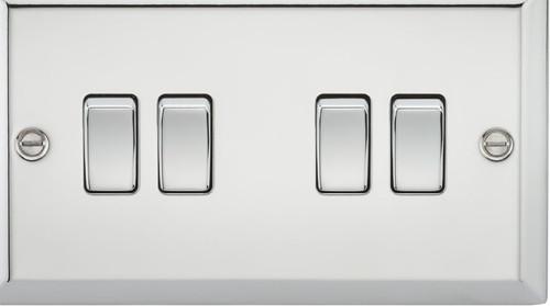 10A 4G 2 Way Plate Switch - Bevelled Edge Polished Chrome (DFL1CV41PC)