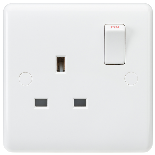 Curved edge 13A 1G DP switched socket (DFL1CU7000)