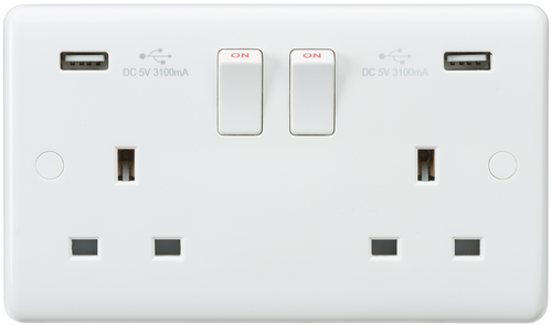 Curved edge 13A 2G switched socket with dual USB charger (5V DC 3.1A shared) (DFL1CU9904)