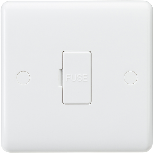 Curved edge 13A fused spur unit with 3A fuse fitted (DFL1CU6000-3A)