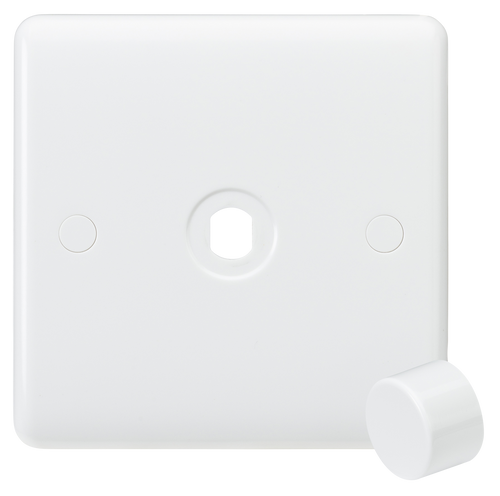 Curved edge 1G dimmer plate with matching dimmer cap (DFL1CU1DIM)